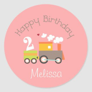 2nd Birthday Girl Train Cupcake Toppers Round Stickers