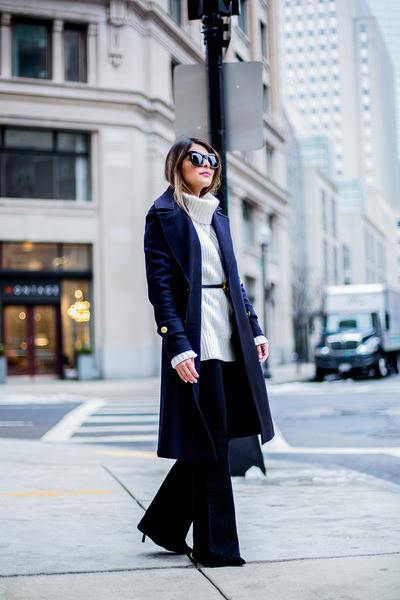navy wool H&M coat
