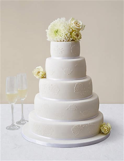 Embroidered Lace Wedding Cake White Icing (Serves 150)   M&S
