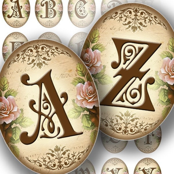 Victorian Alphabet Letters printable Digital by graphicland