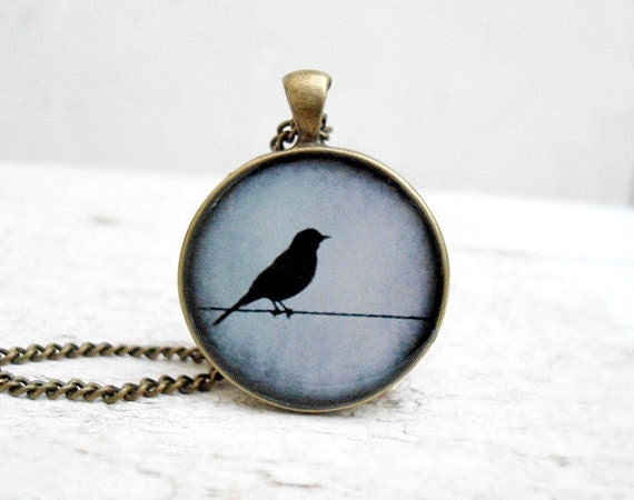 Grey Blue Bird Pendant Necklace, Nature Bird Pendant,Super Sweet Gift - Jugosa