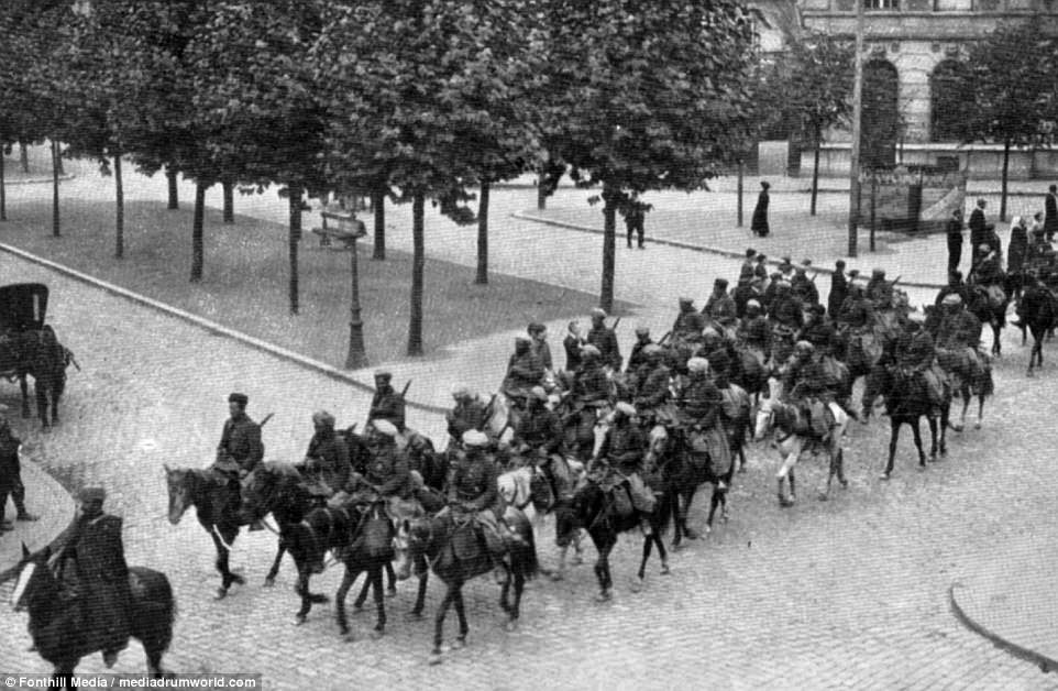 The use of black troops caused a number of complaints during the occupation. This shows a unit of colonial cavalry on the streets of Germany