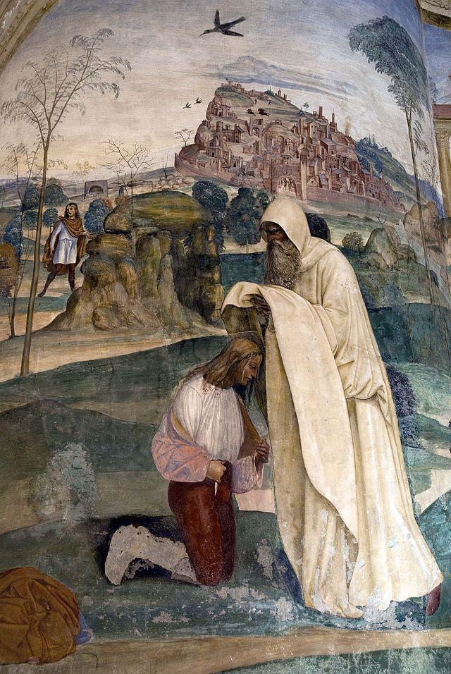 Il monaco Romano dà l'abito eremitico a Benedetto, dipinto del Sodoma