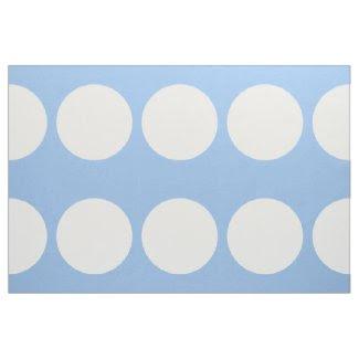 Oversized White Polka Dots on Light Blue Fabric