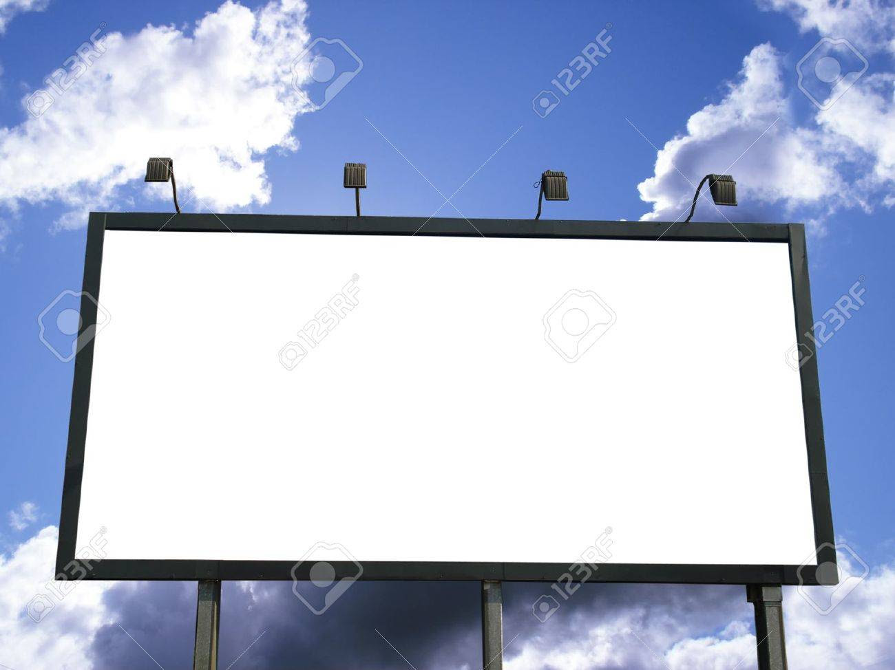 Blank Outdoor Billboard For Advertising On Blue Sky With Clouds ...