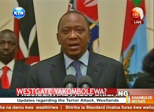 Kenyan President Uhuru Kenyatta making a statement on September 24, 2013. The president announced the end of the Westgate Mall standoff where at least 69 were killed. by Pan-African News Wire File Photos