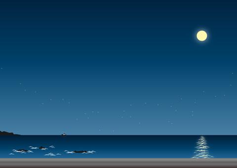 月明かりの海 素材イラスト 彩クリweb