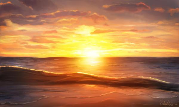 Beach Sunset Drawing