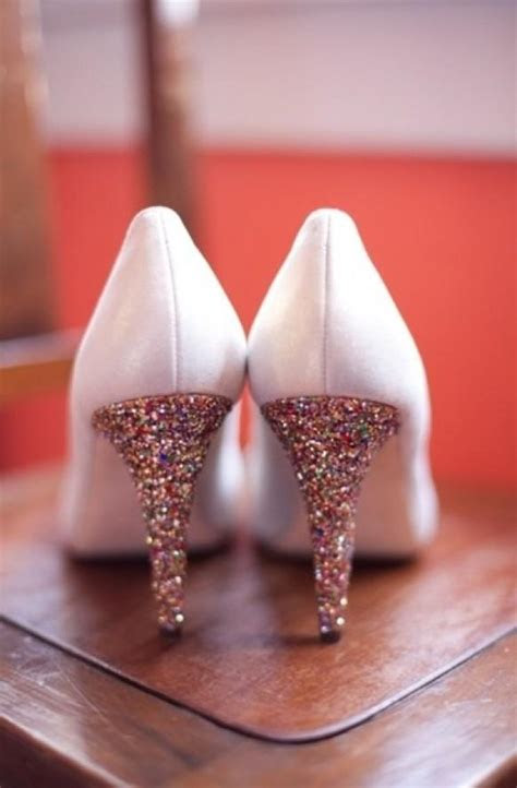 white  gold sparkly wedding shoes glitter bridal