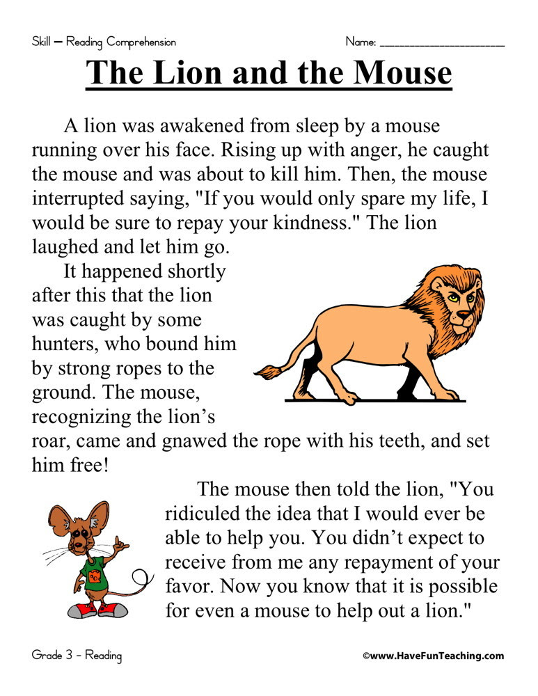 Reading Prehension Worksheet The Lion And The Mouse