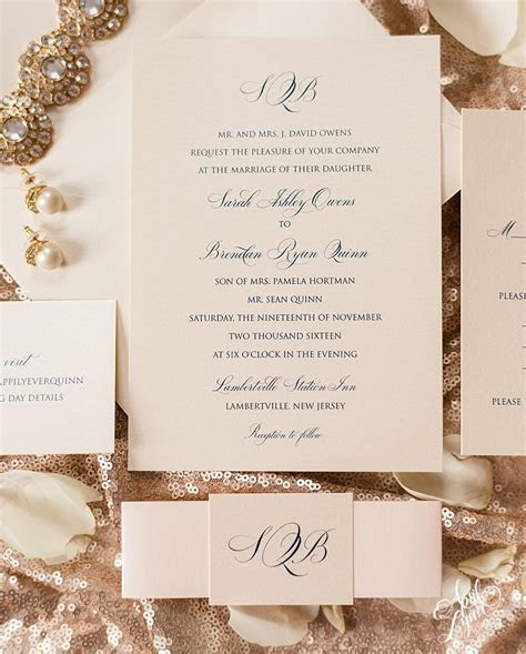 Sarah   Brendan?s Traditional Monogram Wedding Invitation