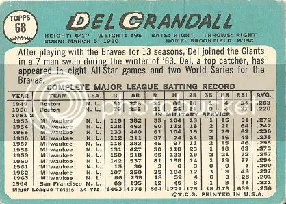 #68 Del Crandall (back)