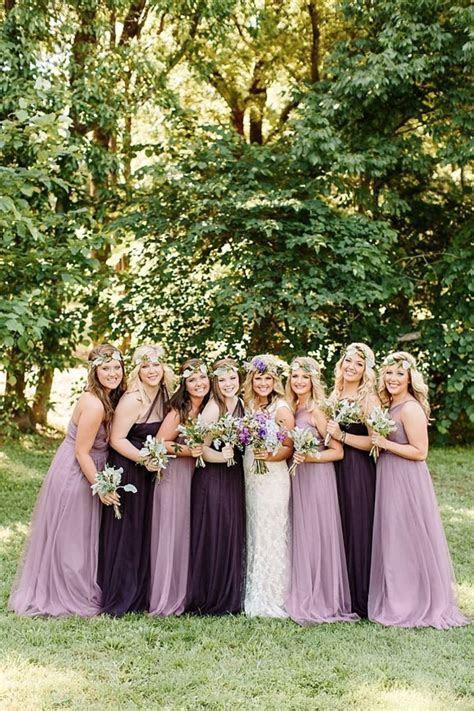 Purple Boho Rustic Chic Wedding   Bridesmaids   Plum