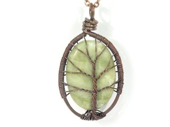Jade Stone Tree of Life Necklace in Antique Copper
