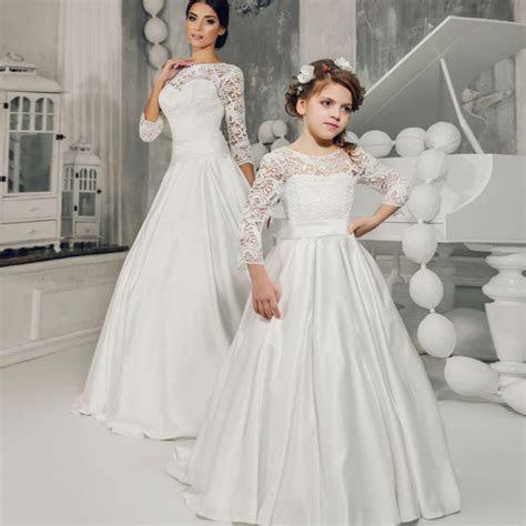 Long Sleeve Flower Girls Dresses for Wedding A line Long