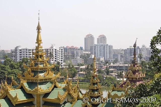 myanmar yangon skyline from shwedagon