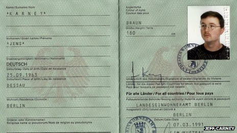 Passport under the name of Jens Karney