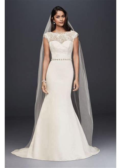 Satin and Illusion Lace Mermaid Wedding Dress   David's Bridal
