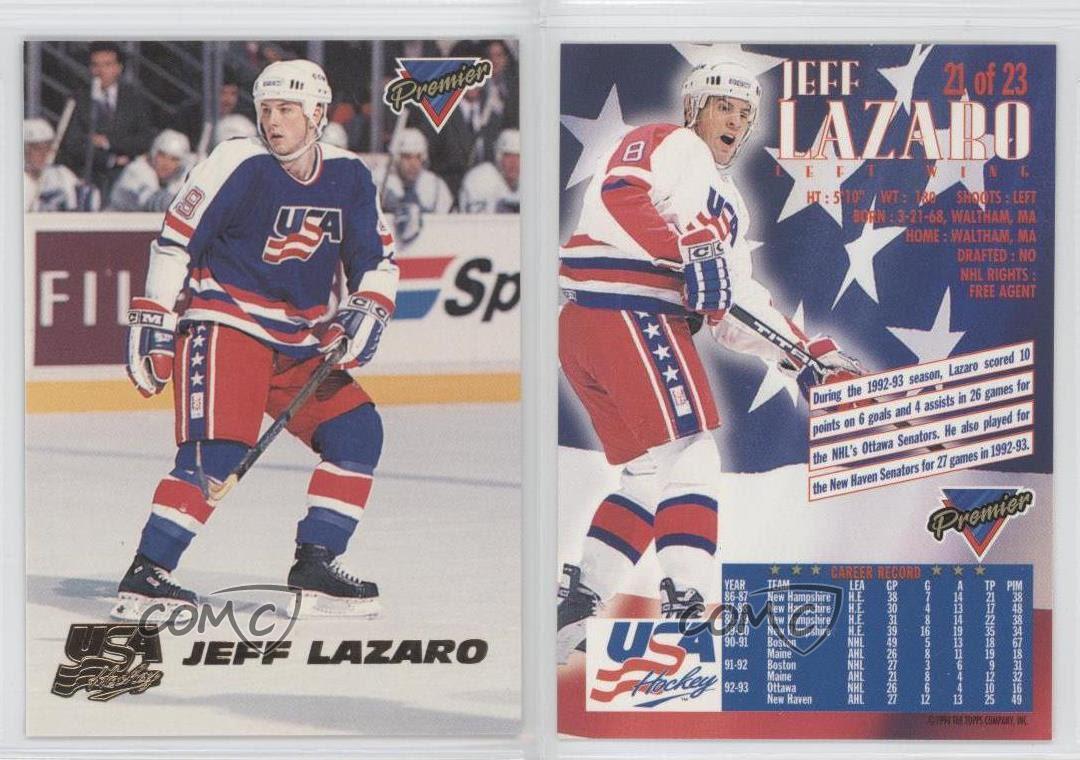 1993-94 Topps Premier Team USA #21 Jeff Lazaro (National Team) Hockey Card   eBay