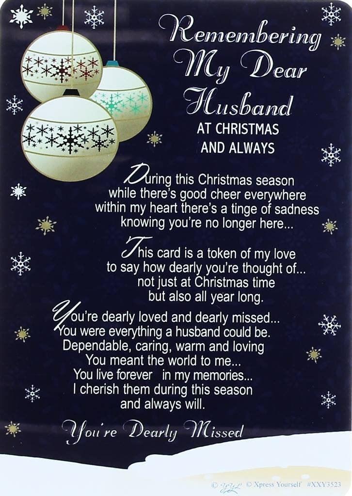 Loving Memory Christmas Graveside Memorial Card My Dear Husband 6