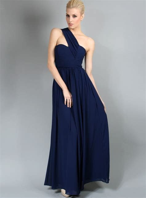 Madison Dress by White Velvet   One Shoulder Navy Blue