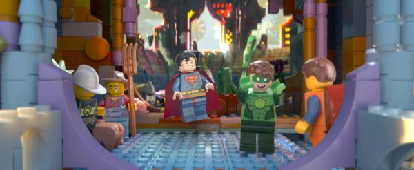Emmet is greeted by Superman (Channing Tatum) and the Green Lantern (Jonah Hill) in THE LEGO MOVIE.
