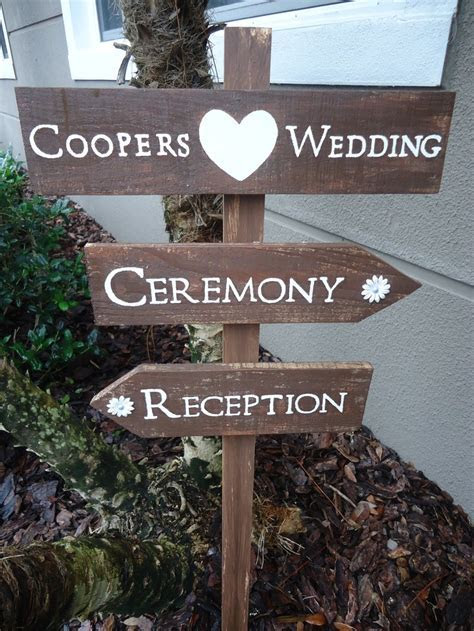 Wedding Directional Sign Ceremony Reception Reclaimed Wood