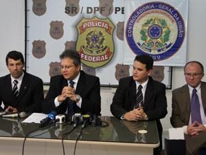 Polícia Federal e CGU participam de coletiva para explicar investigações do Jampa Digital em João Pessoa, Paraíba (Foto: Jocélio Oliveira/G1 )
