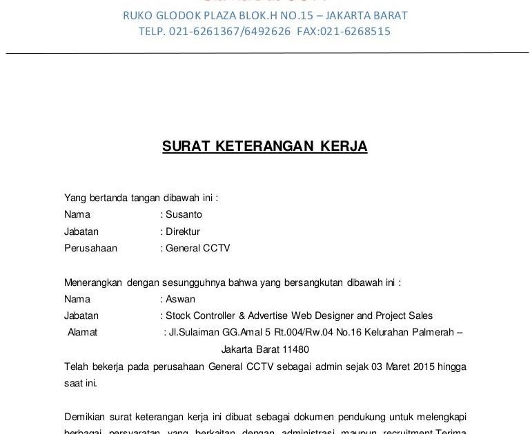 Contoh Surat Pernyataan Bekerja - Aneka Macam Contoh
