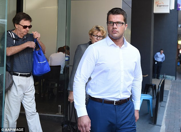 Ms Evans sat with Gable Tostee's parents Gray (on left) and Helene (right) through the final days of his trial. Gable was acquitted of Warriena Wright's murder and manslaughter