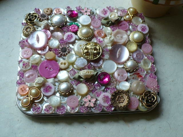 Embellished Shabby Chic Bead and Button Gift Box - Metal Tin by Luv Personalized Gifts Shop
