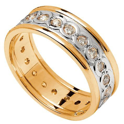Celtic Ring   Ladies White Gold with Yellow Gold Trim and