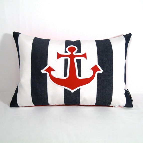 Nautical Pillow Cover Outdoor Anchor Pillow Red by Mazizmuse