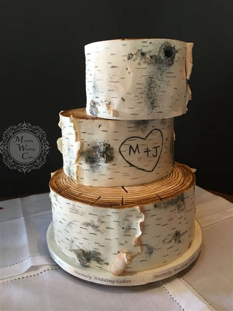 3 Tier Birch Bark Fondant Off Set   wedding cakes #