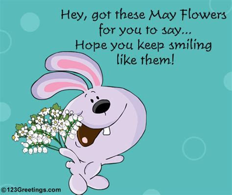 A Cute Wish With May Flowers. Free May Flowers eCards