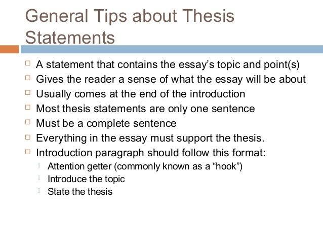the thesis statement of a descriptive essay