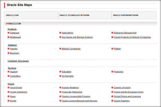 oracle sitemap example