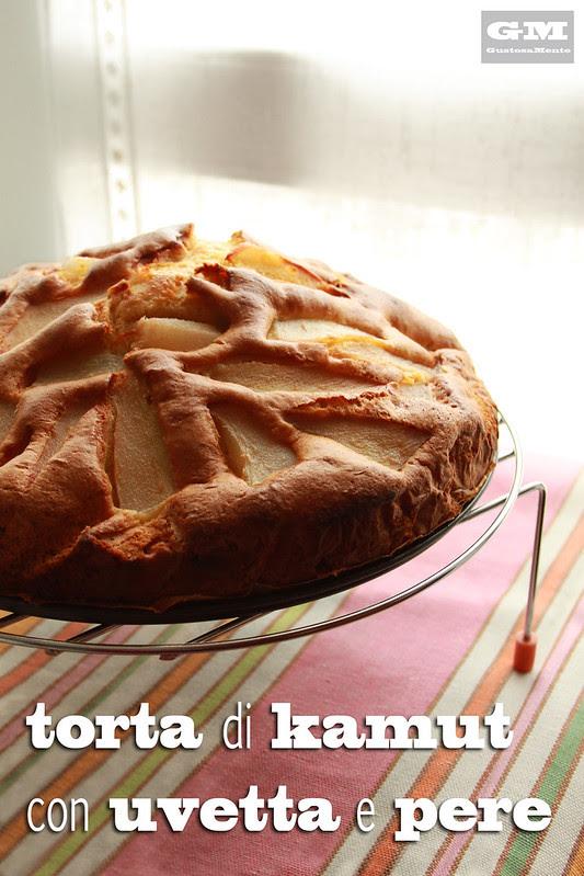 Torta di Kamut con uvetta pere