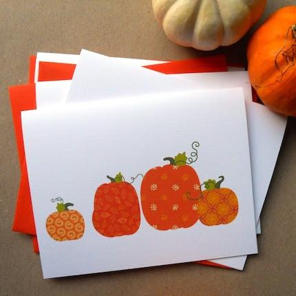 Pumpkin Harvest Cards Set of 4
