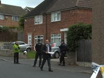 Police at the scene in Holland Road, Hamstead