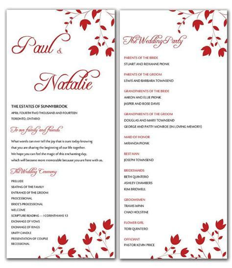 DIY Red Wild Flowers Wedding Program Microsoft Word