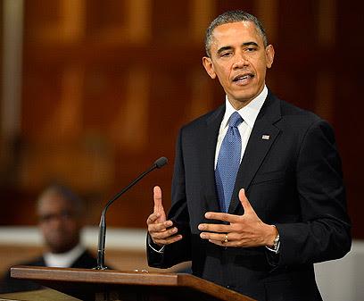 """""""הגענו להתפלל, להתאבל ולאמוד את האובדן"""", אובמה (צילום: EPA)"""