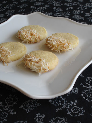 Toasted coconut shortbread with white chocolate icing