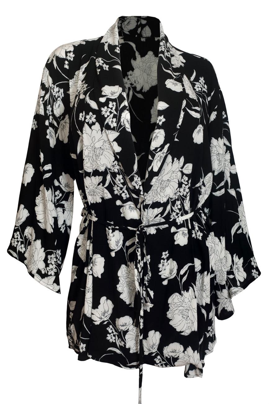 Plus size Kimono Longline Cardigan Black Floral Print 18223