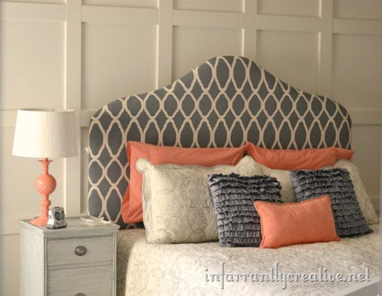 coral and gray bedroom