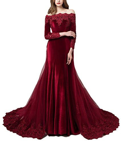 lejy vintage long sleeves velvet evening gown