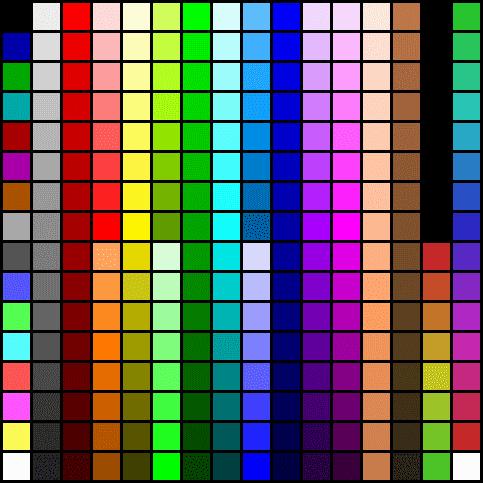 256색 색상표