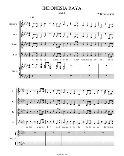 Not Balok Lagu Indonesia Raya 3 Stanza 16 2021