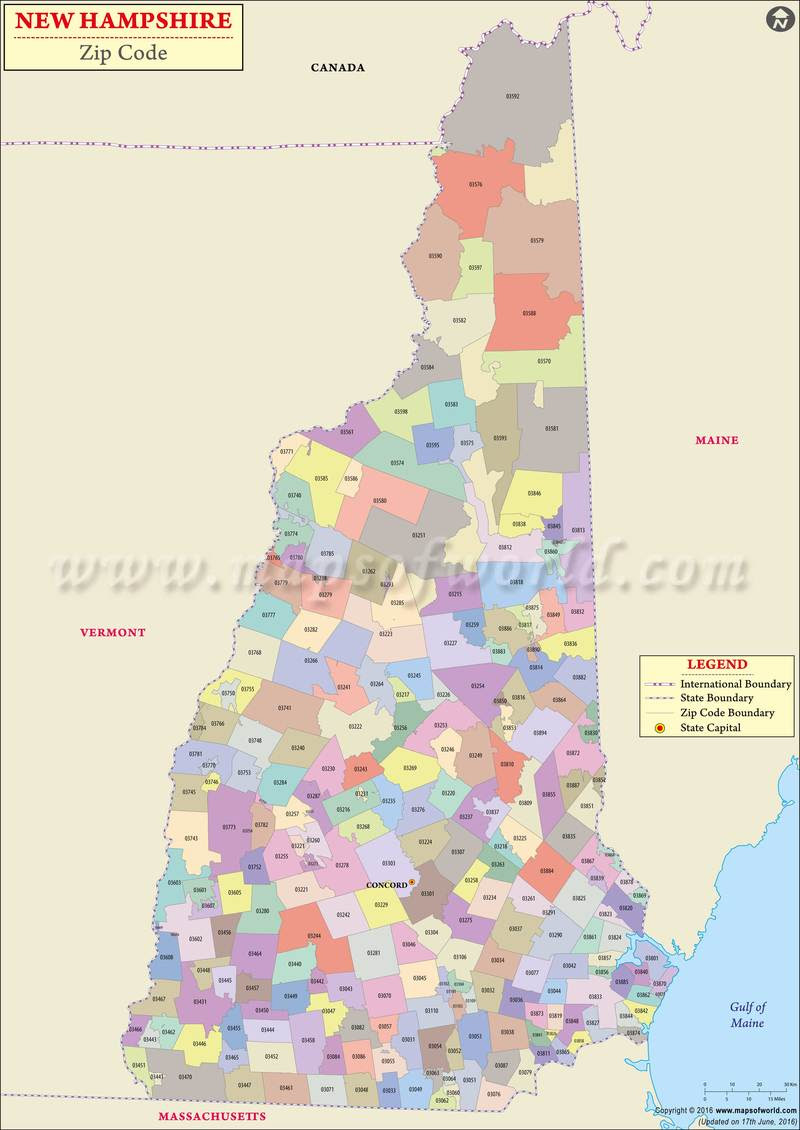New Hampshire Zip Codes Map List Counties And Cities