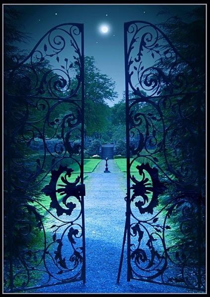 bluepueblo:  Moonlit Garden Gate, Provence, France photo via bonnie